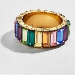 Rainbow gemstone eternity ring size 8